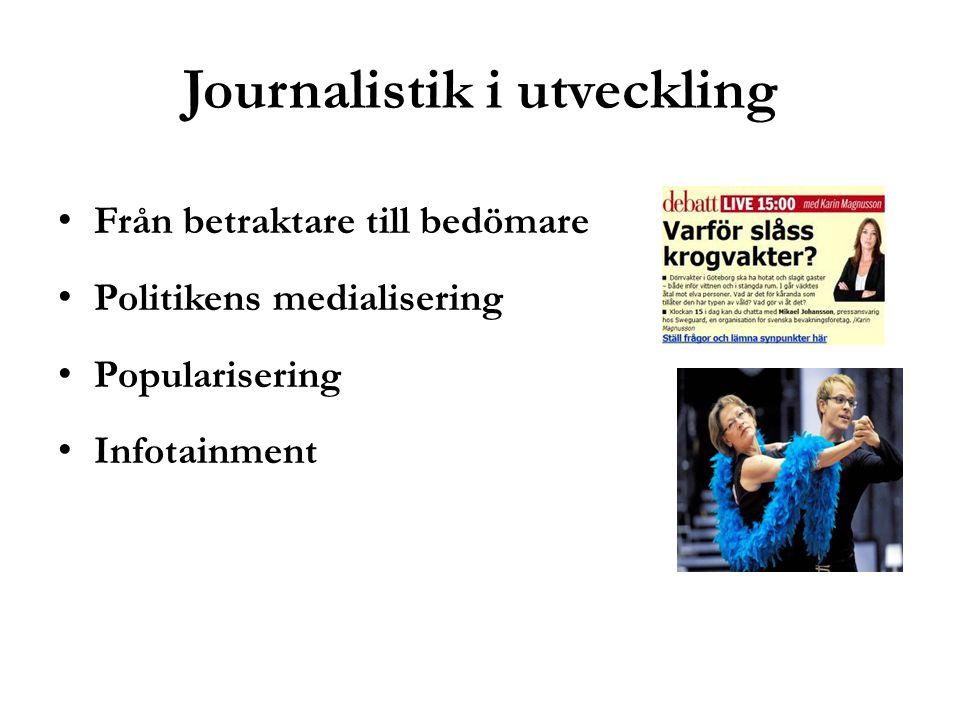 Journalistik i utveckling Från betraktare till bedömare Politikens medialisering Popularisering Infotainment