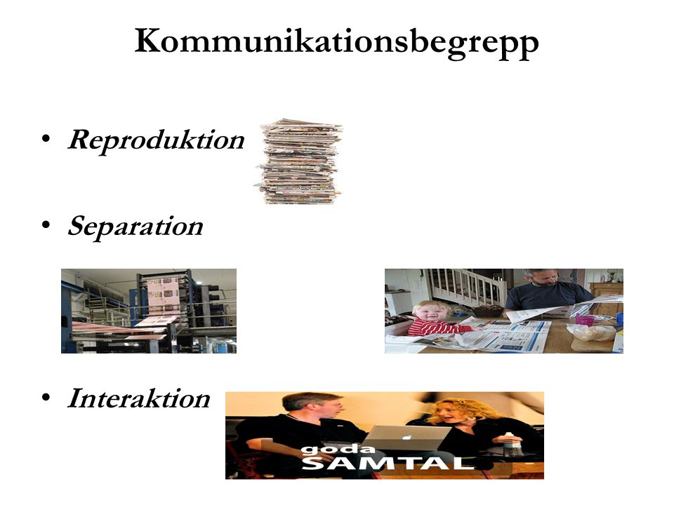 Kommunikationsbegrepp Reproduktion Separation Interaktion