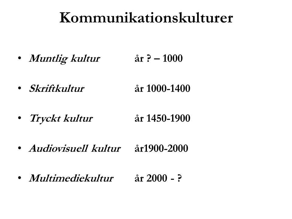 Kommunikationskulturer Muntlig kultur år ? – 1000 Skriftkultur år 1000-1400 Tryckt kultur år 1450-1900 Audiovisuell kultur år1900-2000 Multimediekultu