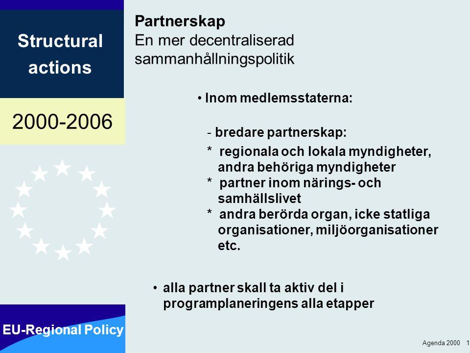 2000-2006 EU-Regional Policy Structural actions Agenda 2000 1 Partnerskap En mer decentraliserad sammanhållningspolitik Inom medlemsstaterna: - bredare partnerskap: *regionala och lokala myndigheter, andra behöriga myndigheter *partner inom närings- och samhällslivet *andra berörda organ, icke statliga organisationer, miljöorganisationer etc.