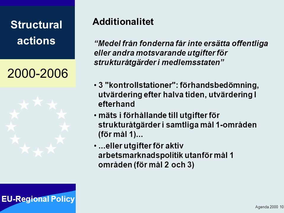 2000-2006 EU-Regional Policy Structural actions Agenda 2000 10 Additionalitet Medel från fonderna får inte ersätta offentliga eller andra motsvarande utgifter för strukturåtgärder i medlemsstaten 3 kontrollstationer : förhandsbedömning, utvärdering efter halva tiden, utvärdering I efterhand mäts i förhållande till utgifter för strukturåtgärder i samtliga mål 1-områden (för mål 1)......eller utgifter för aktiv arbetsmarknadspolitik utanför mål 1 områden (för mål 2 och 3)