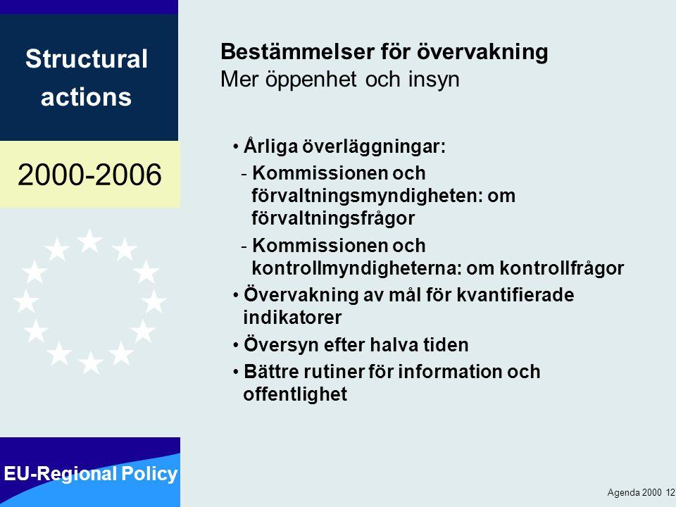 2000-2006 EU-Regional Policy Structural actions Agenda 2000 12 Bestämmelser för övervakning Mer öppenhet och insyn Årliga överläggningar: - Kommissionen och förvaltningsmyndigheten: om förvaltningsfrågor - Kommissionen och kontrollmyndigheterna: om kontrollfrågor Övervakning av mål för kvantifierade indikatorer Översyn efter halva tiden Bättre rutiner för information och offentlighet