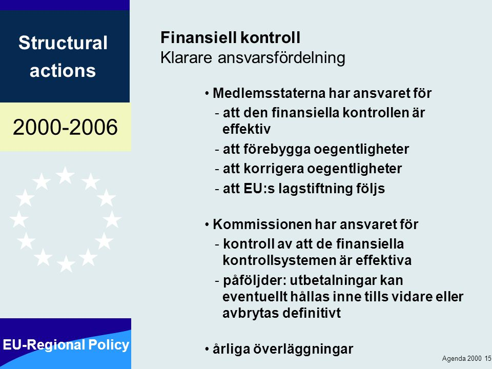 2000-2006 EU-Regional Policy Structural actions Agenda 2000 15 Finansiell kontroll Klarare ansvarsfördelning Medlemsstaterna har ansvaret för - att den finansiella kontrollen är effektiv - att förebygga oegentligheter - att korrigera oegentligheter - att EU:s lagstiftning följs Kommissionen har ansvaret för - kontroll av att de finansiella kontrollsystemen är effektiva - påföljder: utbetalningar kan eventuellt hållas inne tills vidare eller avbrytas definitivt årliga överläggningar