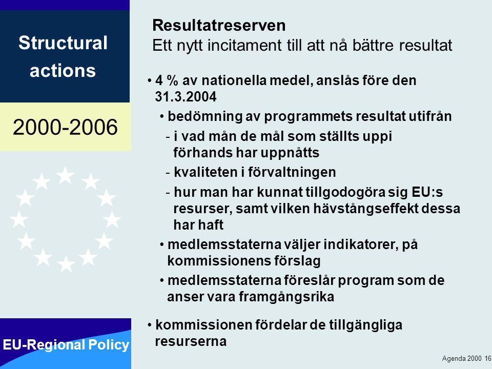 2000-2006 EU-Regional Policy Structural actions Agenda 2000 16 Resultatreserven Ett nytt incitament till att nå bättre resultat 4 % av nationella medel, anslås före den 31.3.2004 bedömning av programmets resultat utifrån - i vad mån de mål som ställts uppi förhands har uppnåtts - kvaliteten i förvaltningen - hur man har kunnat tillgodogöra sig EU:s resurser, samt vilken hävstångseffekt dessa har haft medlemsstaterna väljer indikatorer, på kommissionens förslag medlemsstaterna föreslår program som de anser vara framgångsrika kommissionen fördelar de tillgängliga resurserna