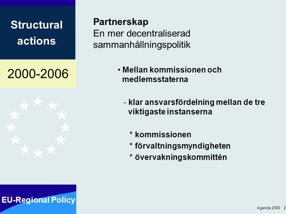 2000-2006 EU-Regional Policy Structural actions Agenda 2000 2 Partnerskap En mer decentraliserad sammanhållningspolitik Mellan kommissionen och medlemsstaterna - klar ansvarsfördelning mellan de tre viktigaste instanserna * kommissionen * förvaltningsmyndigheten * övervakningskommittén