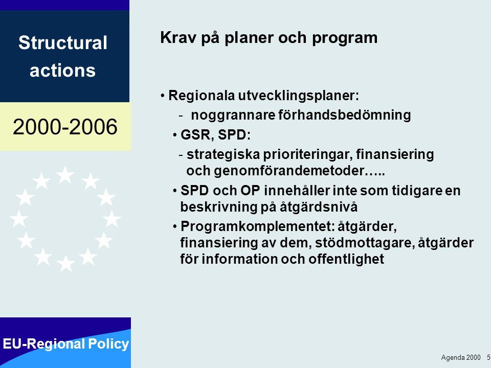 2000-2006 EU-Regional Policy Structural actions Agenda 2000 5 Krav på planer och program Regionala utvecklingsplaner: - noggrannare förhandsbedömning GSR, SPD: - strategiska prioriteringar, finansiering och genomförandemetoder…..