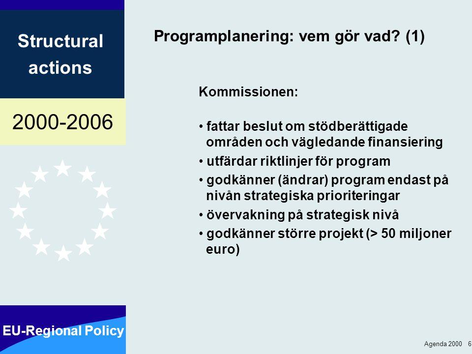 2000-2006 EU-Regional Policy Structural actions Agenda 2000 17 Pågående program avslutas Program från perioden före 1994 - Begäran om utbetalningar fram till 31.3.2001 - Automatiskt upphävande av åtaganden fram till 30.9.2001 Program från perioden 1994-1999: - Begäran om utbetalningar fram till 31.3.2003 Automatiskt upphävande av åtaganden fram till 30.9.2003
