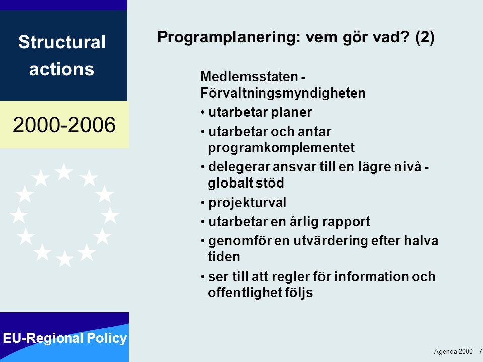 2000-2006 EU-Regional Policy Structural actions Agenda 2000 18 Kommissionens beslut som rör genomförandet Stödberättigande utgifter (artikel 30) Användande av euro (artikel 33) Finansiell kontroll (artikel 38) Finansiella korrigeringar (artikel 39) Information och offentlighet (artikel 46) ….vid behov ytterligare beslut