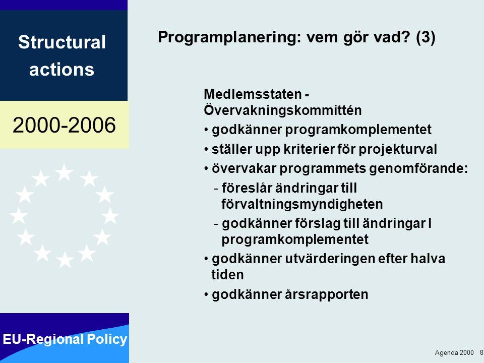 2000-2006 EU-Regional Policy Structural actions Agenda 2000 9 Bättre kostnadseffektivitet additionalitet övervakning utvärdering finansiell förvaltning finansiell kontroll resultatreserv