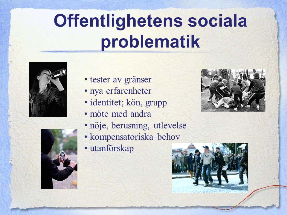 Offentlighetens sociala problematik tester av gränser nya erfarenheter identitet; kön, grupp möte med andra nöje, berusning, utlevelse kompensatoriska
