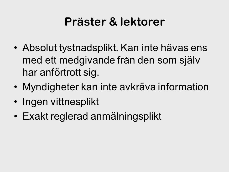 Präster & lektorer Absolut tystnadsplikt.