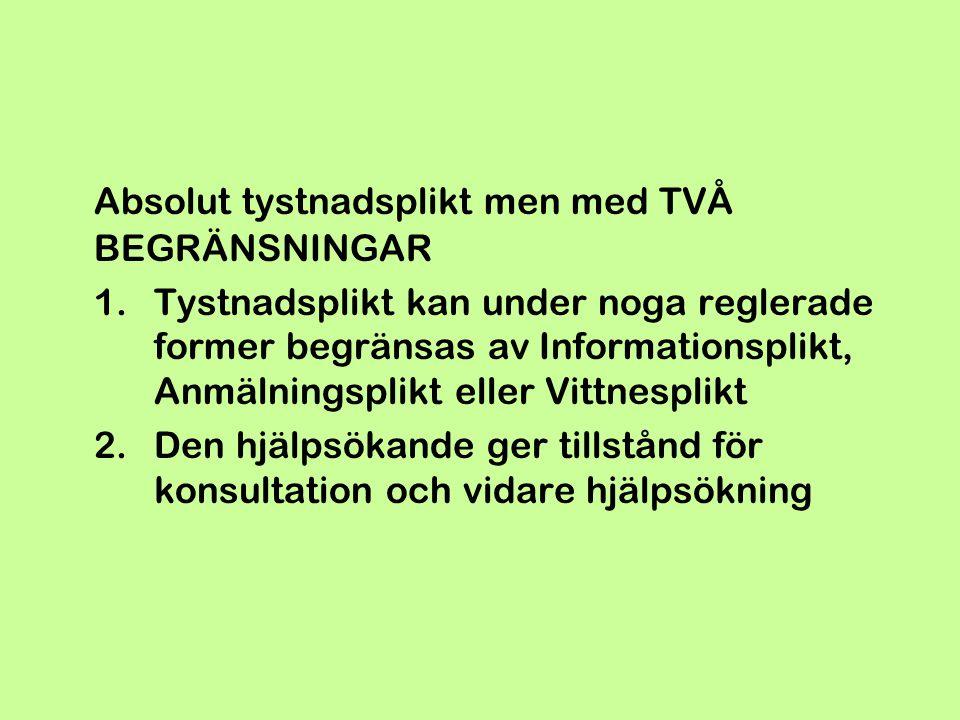 Absolut tystnadsplikt men med TVÅ BEGRÄNSNINGAR 1.