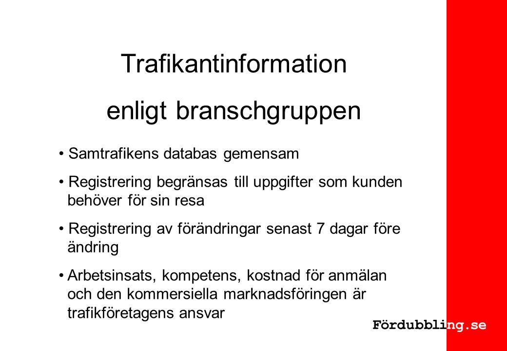 Trafikantinformation enligt branschgruppen Samtrafikens databas gemensam Registrering begränsas till uppgifter som kunden behöver för sin resa Registrering av förändringar senast 7 dagar före ändring Arbetsinsats, kompetens, kostnad för anmälan och den kommersiella marknadsföringen är trafikföretagens ansvar