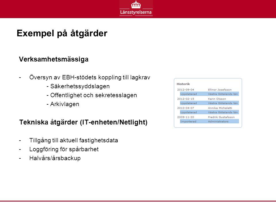 Exempel på åtgärder Verksamhetsmässiga -Översyn av EBH-stödets koppling till lagkrav - Säkerhetssyddslagen - Offentlighet och sekretesslagen - Arkivlagen Tekniska åtgärder (IT-enheten/Netlight) -Tillgång till aktuell fastighetsdata -Loggföring för spårbarhet -Halvårs/årsbackup