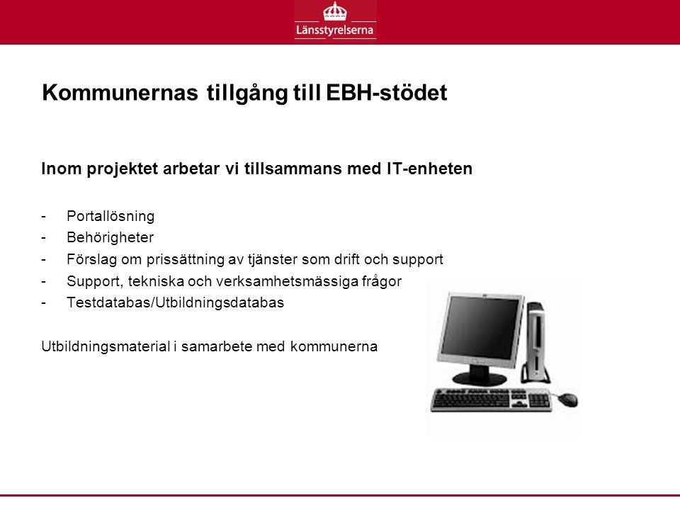 Kommunernas tillgång till EBH-stödet Inom projektet arbetar vi tillsammans med IT-enheten -Portallösning -Behörigheter -Förslag om prissättning av tjänster som drift och support -Support, tekniska och verksamhetsmässiga frågor -Testdatabas/Utbildningsdatabas Utbildningsmaterial i samarbete med kommunerna