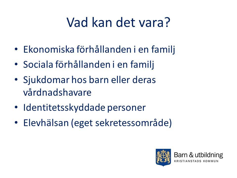 Vad kan det vara? Ekonomiska förhållanden i en familj Sociala förhållanden i en familj Sjukdomar hos barn eller deras vårdnadshavare Identitetsskyddad