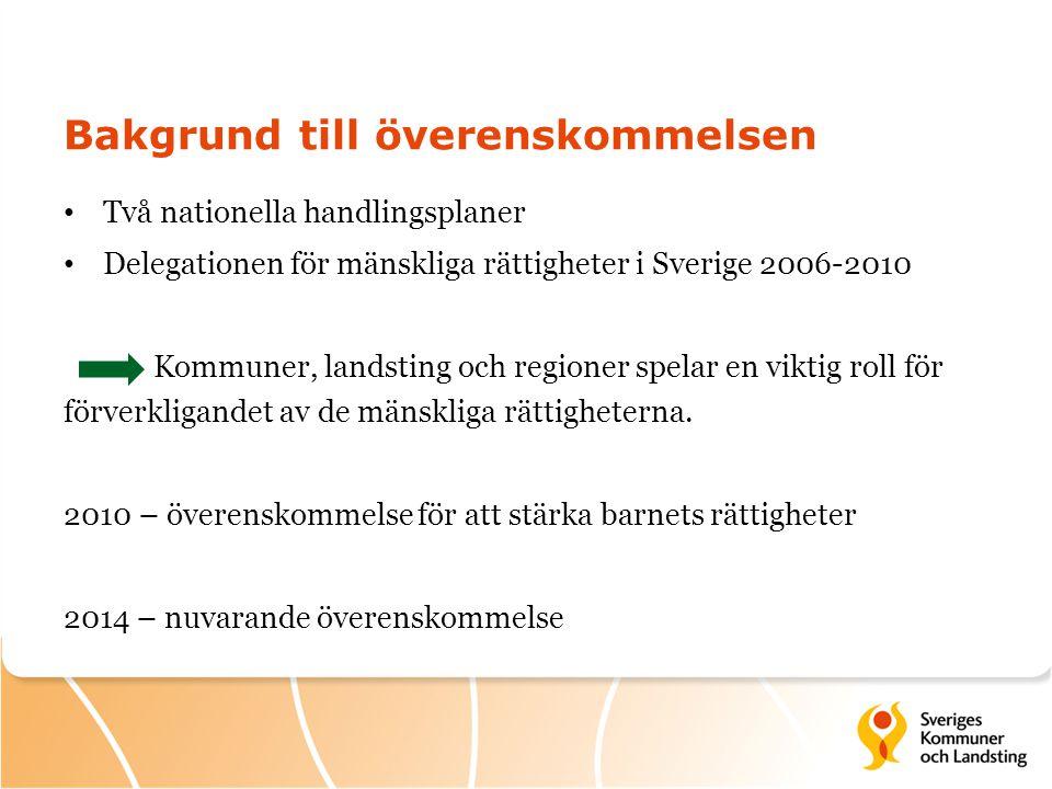 Bakgrund till överenskommelsen Två nationella handlingsplaner Delegationen för mänskliga rättigheter i Sverige 2006-2010 Kommuner, landsting och regio