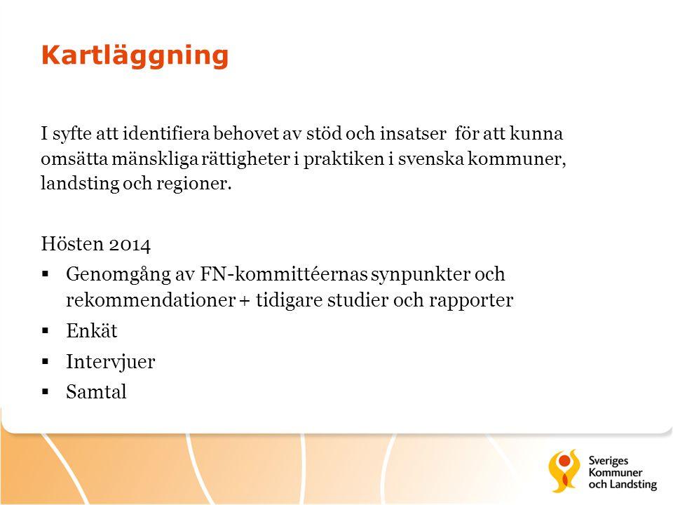 Kartläggning I syfte att identifiera behovet av stöd och insatser för att kunna omsätta mänskliga rättigheter i praktiken i svenska kommuner, landstin