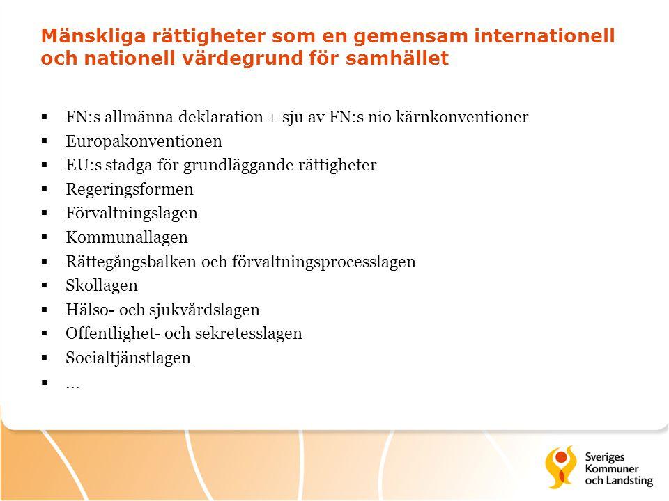 Internationella rekommendationer till Sverige  Tydligare styrning och uppföljning  Förtydliga eventuellt lagar  Gör kunskapshöjande insatser mer praktiskt orienterade  Stärk arbetet för specifika grupper  Samla in och analysera data om rättighetssituationen för olika grupper på ett mer systematiskt sätt.
