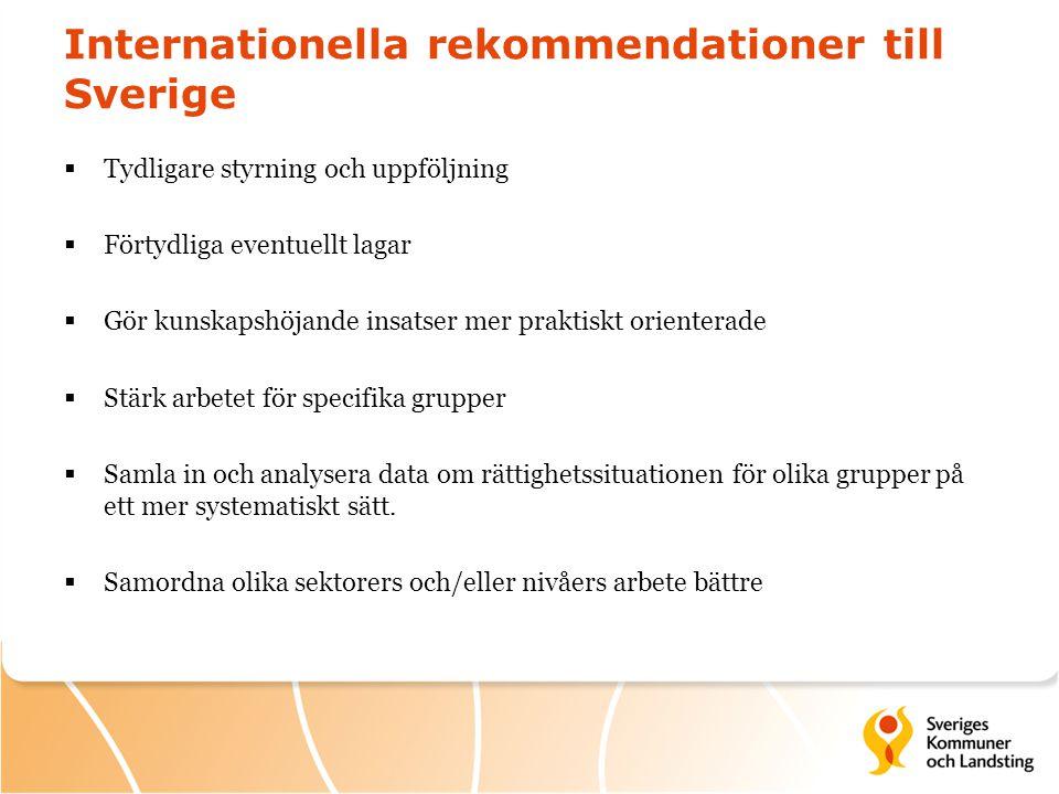 Internationella rekommendationer till Sverige  Tydligare styrning och uppföljning  Förtydliga eventuellt lagar  Gör kunskapshöjande insatser mer pr