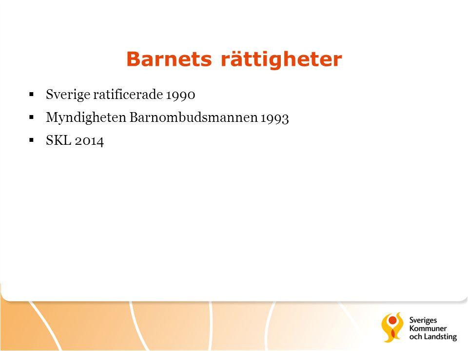 Barnets rättigheter  Sverige ratificerade 1990  Myndigheten Barnombudsmannen 1993  SKL 2014
