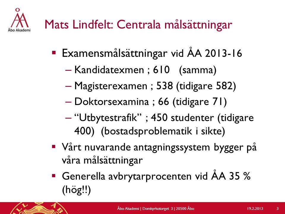 Mats Lindfelt: Centrala målsättningar  Examensmålsättningar vid ÅA 2013-16 – Kandidatexmen ; 610 (samma) – Magisterexamen ; 538 (tidigare 582) – Doktorsexamina ; 66 (tidigare 71) – Utbytestrafik ; 450 studenter (tidigare 400) (bostadsproblematik i sikte)  Vårt nuvarande antagningssystem bygger på våra målsättningar  Generella avbrytarprocenten vid ÅA 35 % (hög!!) 19.2.2013Åbo Akademi | Domkyrkotorget 3 | 20500 Åbo 3