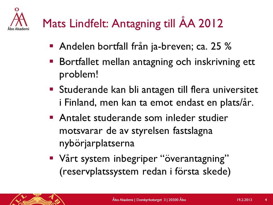 Mats Lindfelt: Antagning till ÅA 2012  Andelen bortfall från ja-breven; ca.