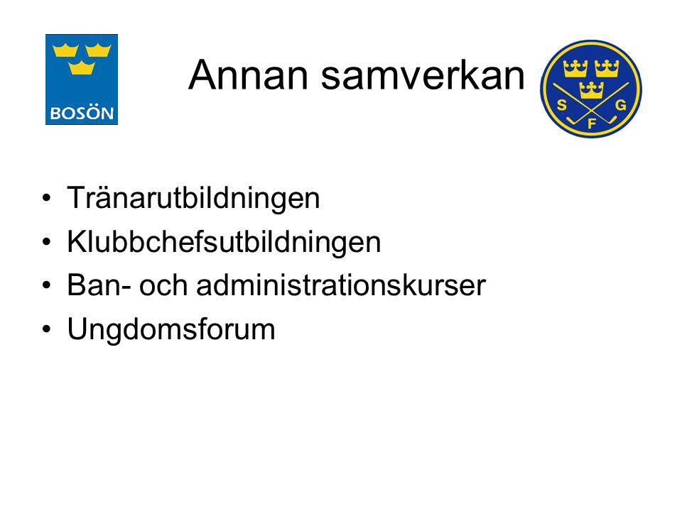 Annan samverkan Tränarutbildningen Klubbchefsutbildningen Ban- och administrationskurser Ungdomsforum