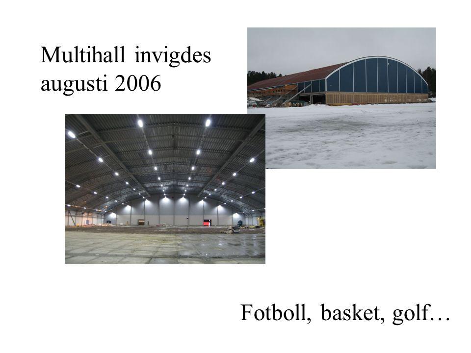 Multihall invigdes augusti 2006 Fotboll, basket, golf…