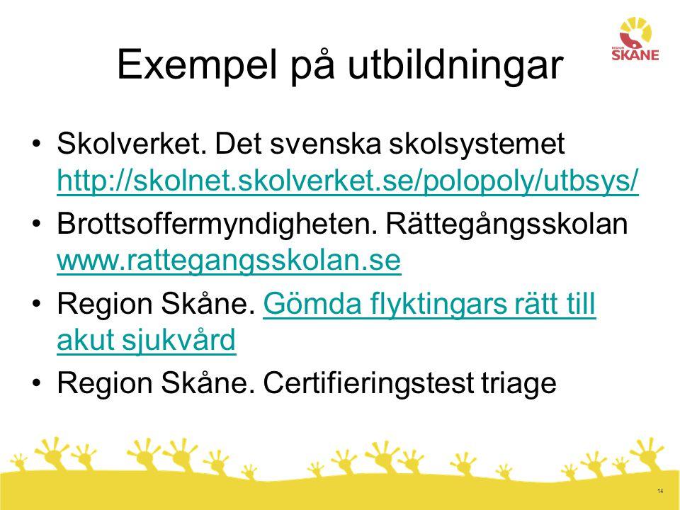 14 Exempel på utbildningar Skolverket. Det svenska skolsystemet http://skolnet.skolverket.se/polopoly/utbsys/ http://skolnet.skolverket.se/polopoly/ut