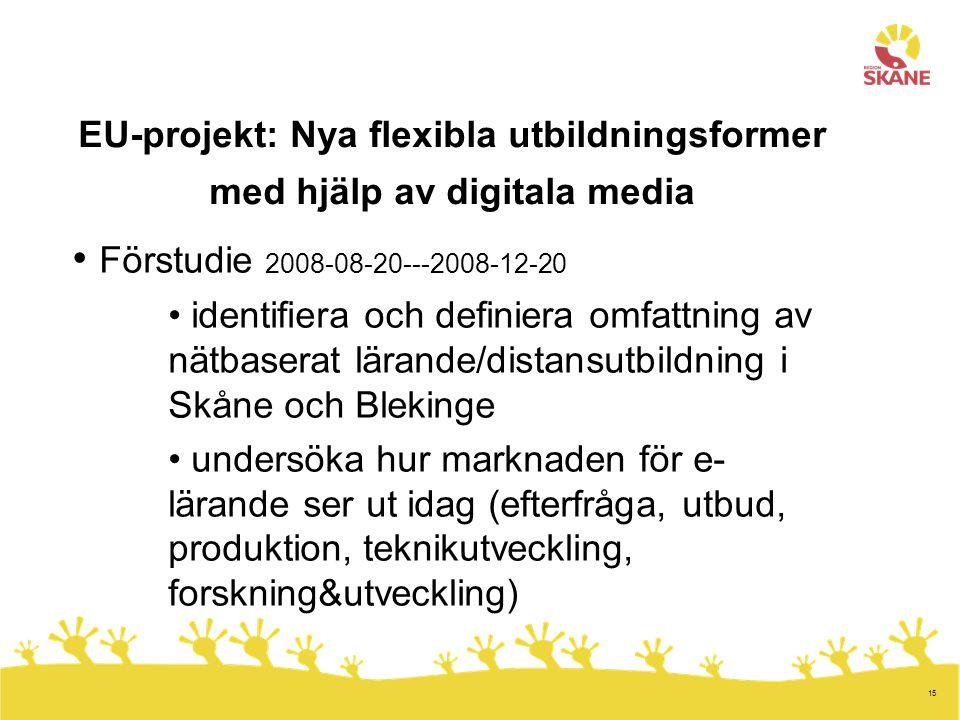 15 EU-projekt: Nya flexibla utbildningsformer med hjälp av digitala media Förstudie 2008-08-20---2008-12-20 identifiera och definiera omfattning av nä