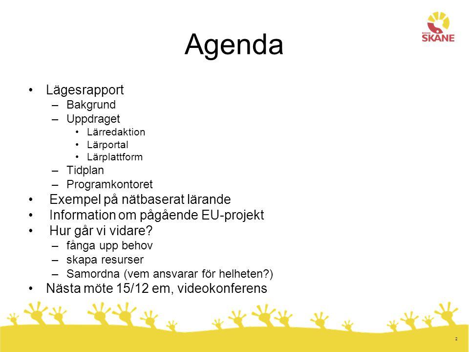 2 Agenda Lägesrapport –Bakgrund –Uppdraget Lärredaktion Lärportal Lärplattform –Tidplan –Programkontoret Exempel på nätbaserat lärande Information om