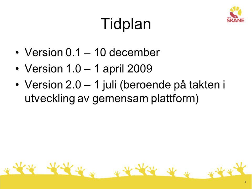 9 Tidplan Version 0.1 – 10 december Version 1.0 – 1 april 2009 Version 2.0 – 1 juli (beroende på takten i utveckling av gemensam plattform)