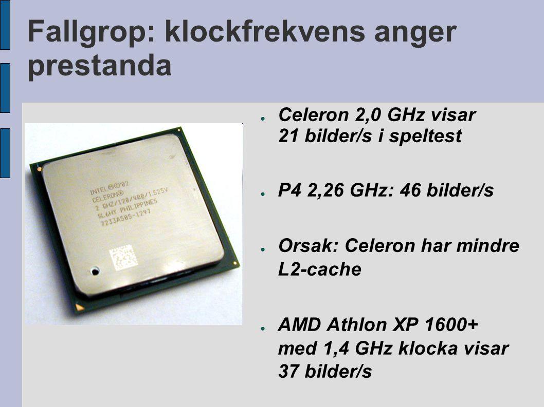 Fallgrop: klockfrekvens anger prestanda ● Celeron 2,0 GHz visar 21 bilder/s i speltest ● P4 2,26 GHz: 46 bilder/s ● Orsak: Celeron har mindre L2-cache ● AMD Athlon XP 1600+ med 1,4 GHz klocka visar 37 bilder/s