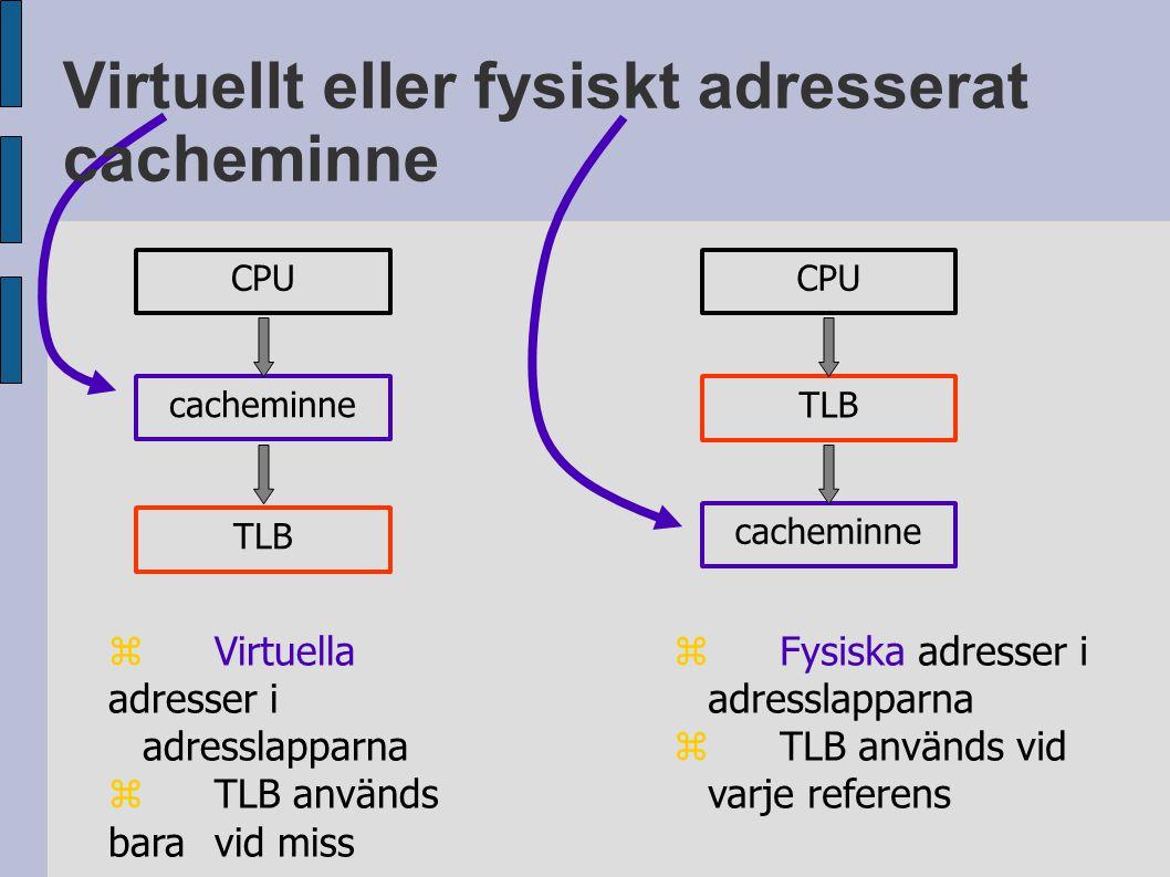 Virtuellt eller fysiskt adresserat cacheminne CPU TLB cacheminne CPU TLB cacheminne  Virtuella adresser i adresslapparna  TLB används bara vid miss  Fysiska adresser i adresslapparna  TLB används vid varje referens
