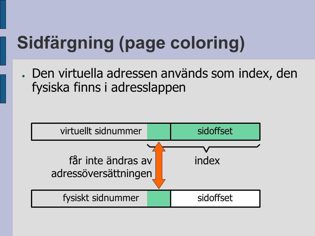 Sidfärgning (page coloring) ● Den virtuella adressen används som index, den fysiska finns i adresslappen virtuellt sidnummersidoffset index fysiskt sidnummersidoffset får inte ändras av adressöversättningen