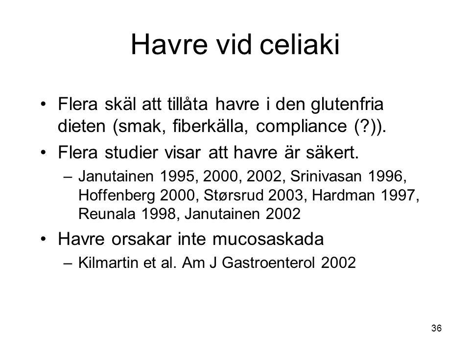36 Havre vid celiaki Flera skäl att tillåta havre i den glutenfria dieten (smak, fiberkälla, compliance (?)). Flera studier visar att havre är säkert.