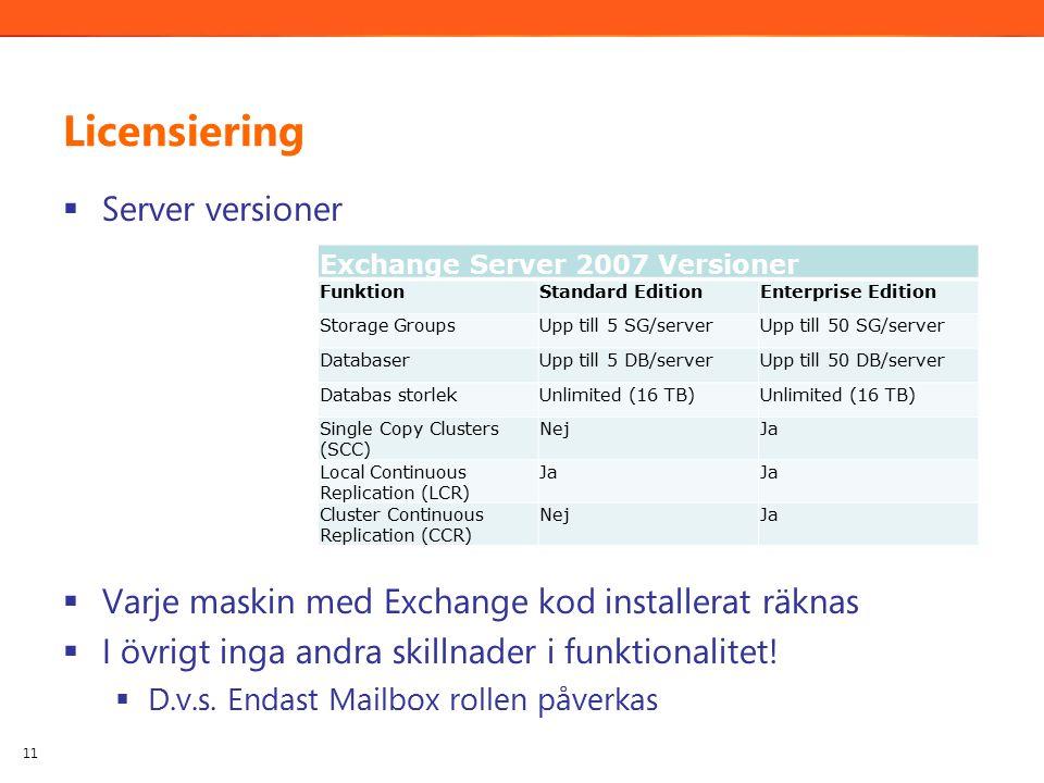Licensiering  Server versioner  Varje maskin med Exchange kod installerat räknas  I övrigt inga andra skillnader i funktionalitet.