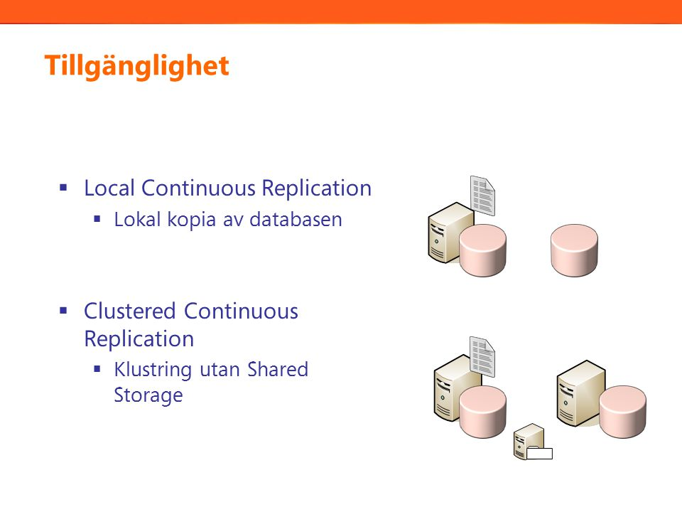 Tillgänglighet  Local Continuous Replication  Lokal kopia av databasen  Clustered Continuous Replication  Klustring utan Shared Storage