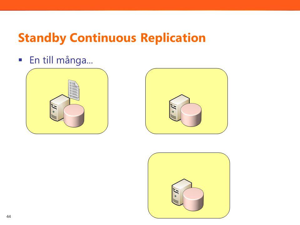 Standby Continuous Replication  En till många... 44
