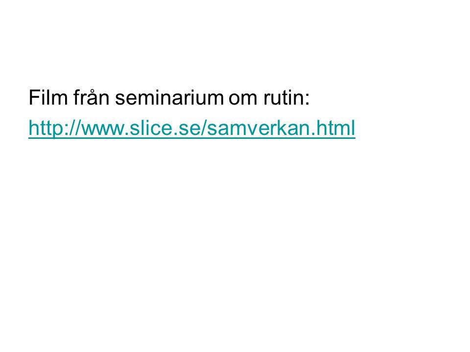 Film från seminarium om rutin: http://www.slice.se/samverkan.html