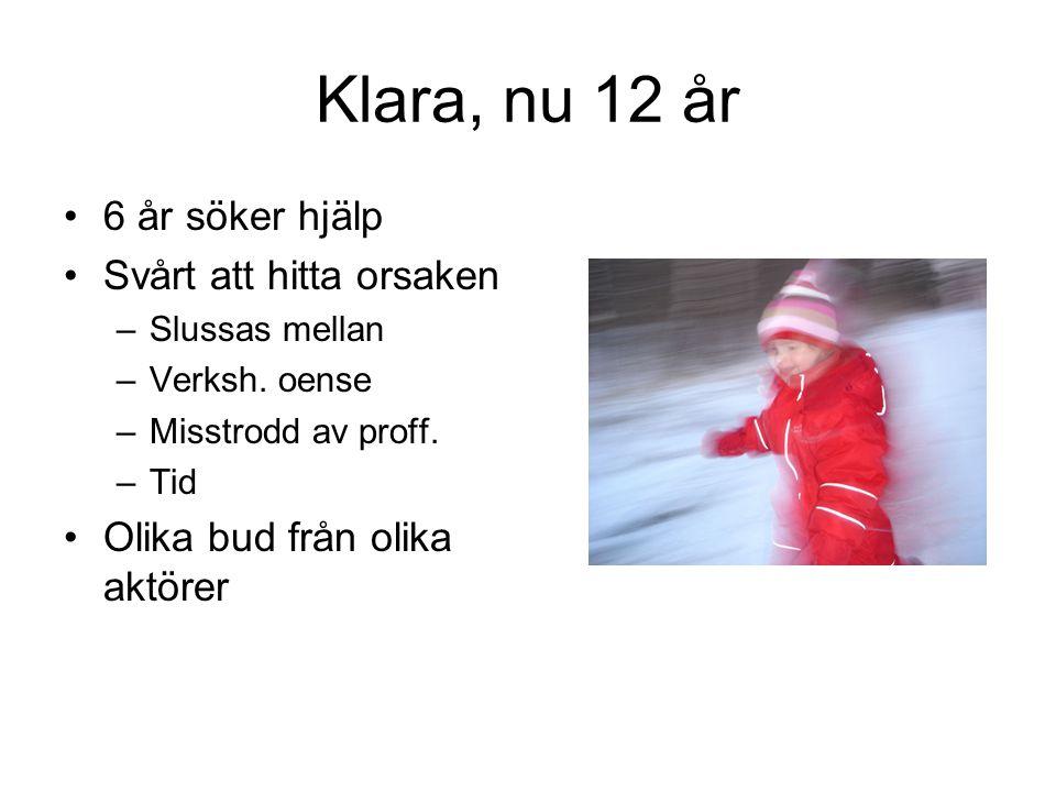 Klara, nu 12 år 6 år söker hjälp Svårt att hitta orsaken –Slussas mellan –Verksh.