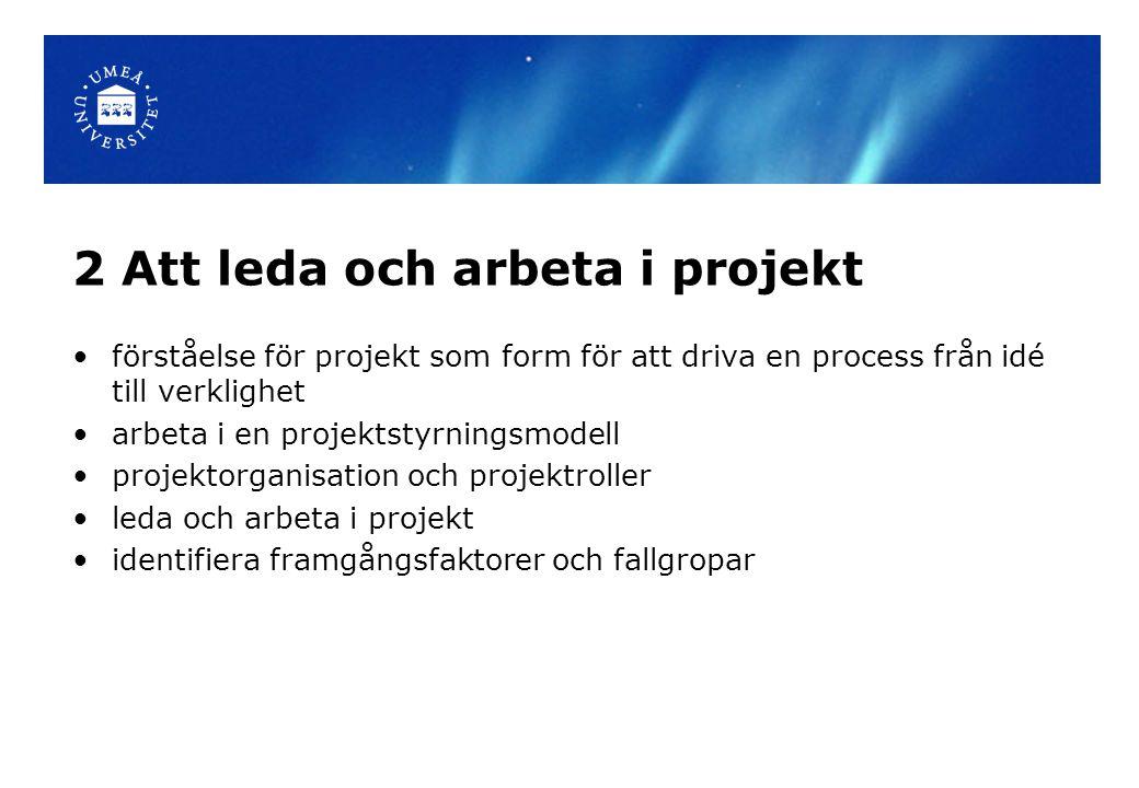 2 Att leda och arbeta i projekt förståelse för projekt som form för att driva en process från idé till verklighet arbeta i en projektstyrningsmodell projektorganisation och projektroller leda och arbeta i projekt identifiera framgångsfaktorer och fallgropar