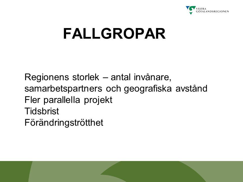 FALLGROPAR Regionens storlek – antal invånare, samarbetspartners och geografiska avstånd Fler parallella projekt Tidsbrist Förändringströtthet