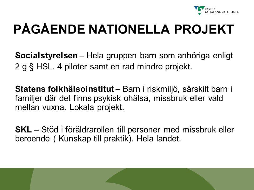 PÅGÅENDE NATIONELLA PROJEKT Socialstyrelsen – Hela gruppen barn som anhöriga enligt 2 g § HSL. 4 piloter samt en rad mindre projekt. Statens folkhälso
