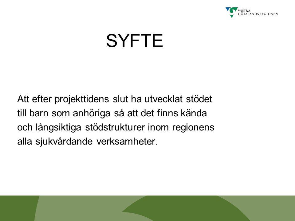 SYFTE Att efter projekttidens slut ha utvecklat stödet till barn som anhöriga så att det finns kända och långsiktiga stödstrukturer inom regionens all