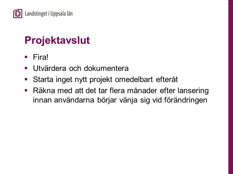 Projektavslut  Fira!  Utvärdera och dokumentera  Starta inget nytt projekt omedelbart efteråt  Räkna med att det tar flera månader efter lansering
