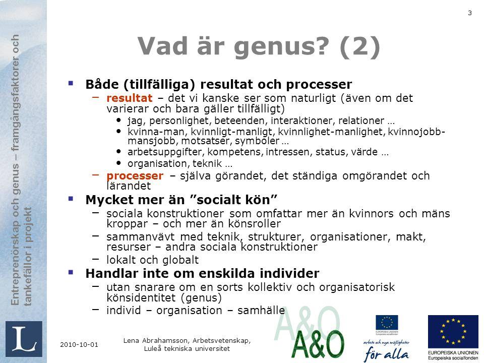Entreprenörskap och genus framgångsfaktorer och tankefällor i projekt Entreprenörskap och genus – framgångsfaktorer och tankefällor i projekt 2010-10-01 Lena Abrahamsson, Arbetsvetenskap, Luleå tekniska universitet 4 Vad är genusteorier.