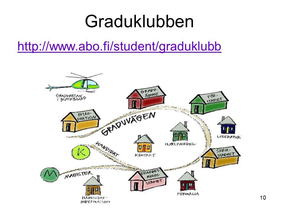 10 Graduklubben http://www.abo.fi/student/graduklubb