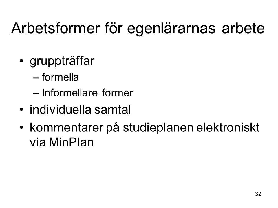 32 Arbetsformer för egenlärarnas arbete gruppträffar –formella –Informellare former individuella samtal kommentarer på studieplanen elektroniskt via MinPlan